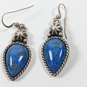 Carolyn Pollack sterling & lapis stone dangle drop earrings